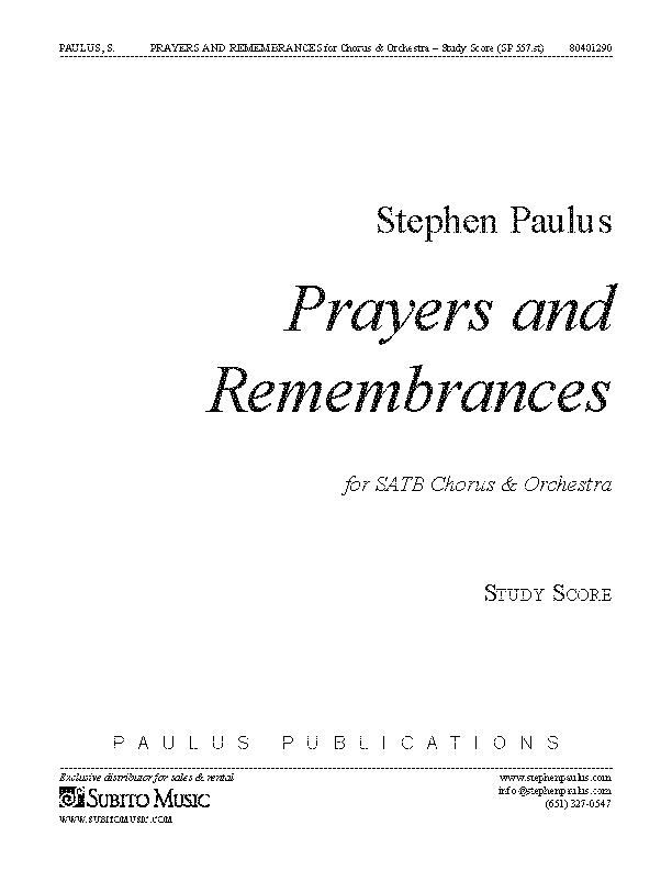 Prayers and Remembrances (study score) for SATB Chorus, Soloists & Orchestra